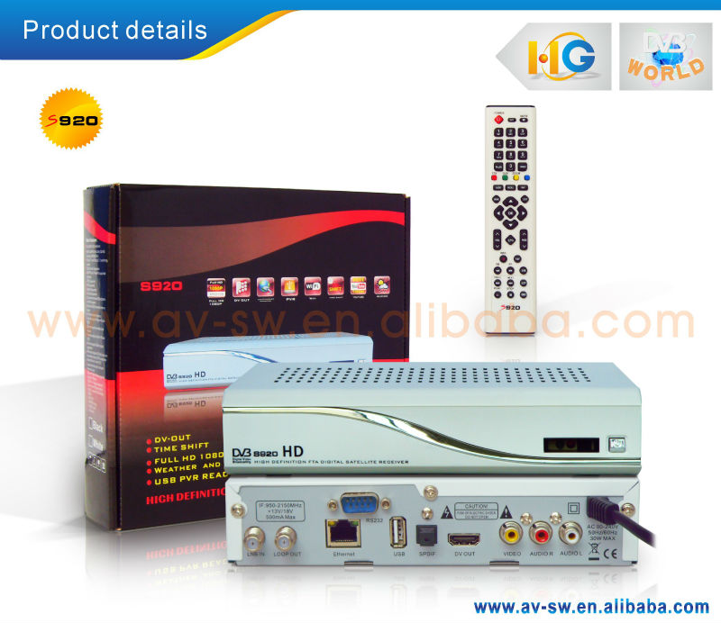 HGDVB support full 1080P Azamerica S920,s922,S930A HD satellite receiver twin tuner iptv