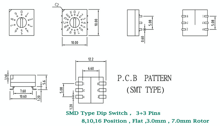 Rotary Changeover Switch 3+3 Pins Smd Type 8 Pos