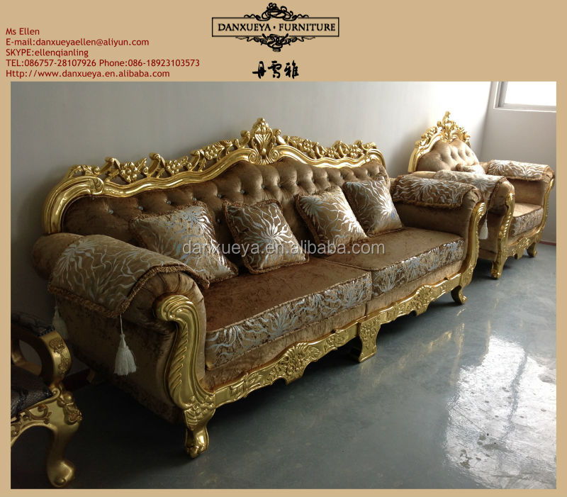 Delightful Italian Living Room Furniture Carved Classic Golden Sofa