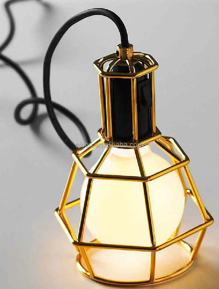 Industrial Vintage Cage Pendant Lights In Golden Chrome Color