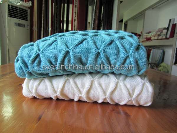 50da53 100%cotton 100%acrylic Pintuck Knit Blanket Throw Knit For ...