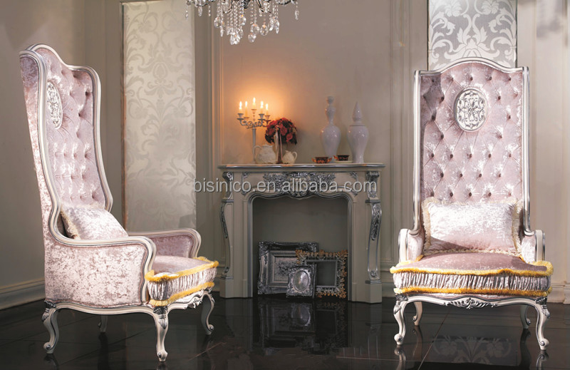 Luxury Sliver Painted High Back Sofa Fire Place Exquisite Wood Carved Furniture