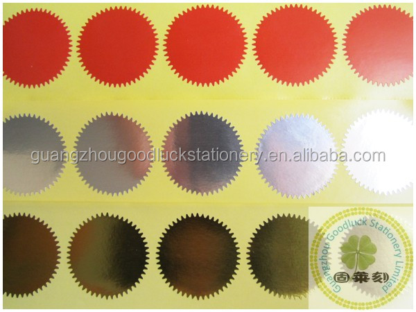 Large gold round sticker envelope seals embossed metallic foil stickers