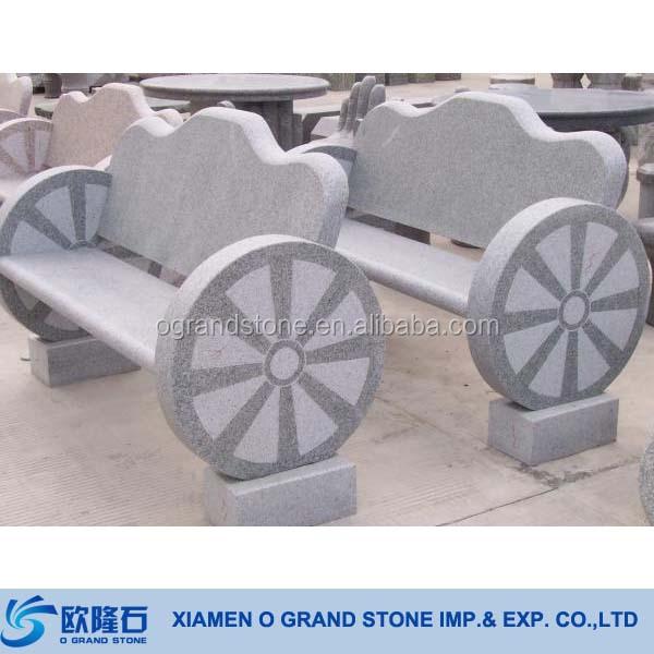 Chna Black Granite Stone Bench With Back Garden