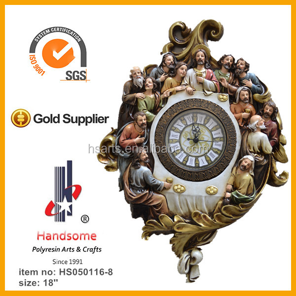 18 Inch Resin Wall Hanging Clock Last Supper Sculpture