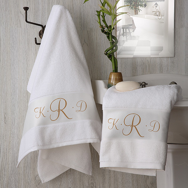 Monogram Towels For Bathroom: 32s/2 68*128cm Monogram Embroidered Design Spa Hotel Bath