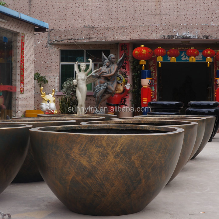 Perfect Large Round Bronze Garden Pot