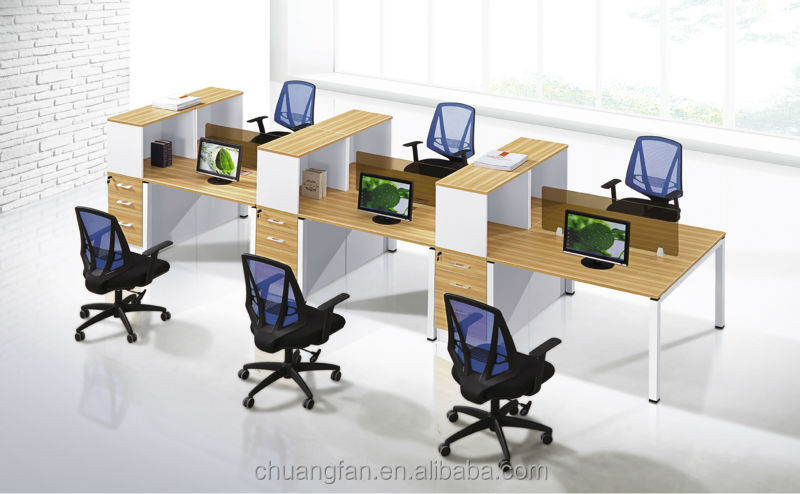 Modern furniture partition 6 person cluster office for Cubiculos de oficina