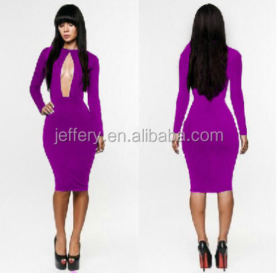 Wholesale Tight fitting purple long sleeve sexy club dresses with ...