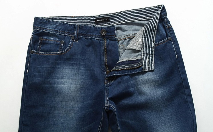 45a84330 Wholesale-large size men jeans sizes 38 40 42 44 46 bleached blue color  mid-rise loose cool denim straight jeans pant