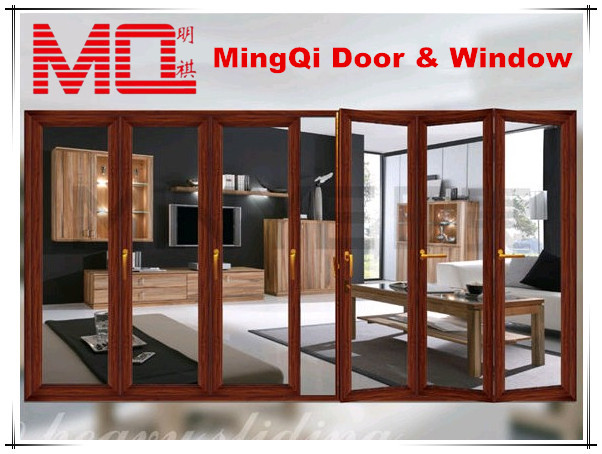 2014 Latest Wood Grain Tempered Glass Exterior Accordion Doors ...