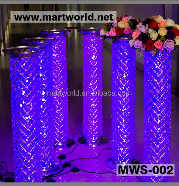 1m Silver Led Crystal Decorative Pillar Columns For