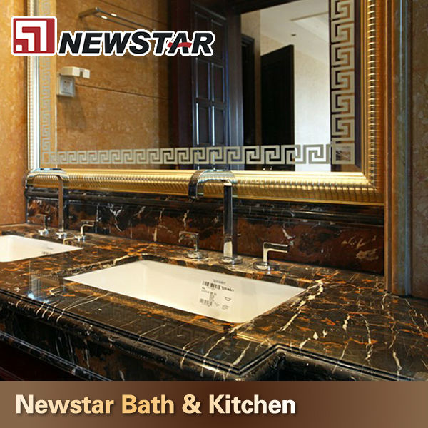 Hotel Bathroom Tiles Black And Gold Flower Marble Buy