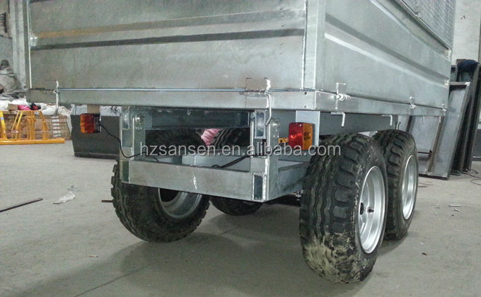 Hot Dip Galvanized hydraulic  dump trailer four wheel , farm tipper trailer for sale