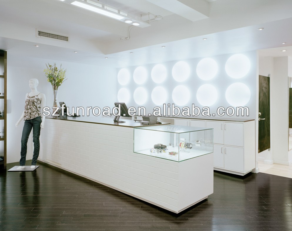 Customized retail store wooden cash counter design for interior ...