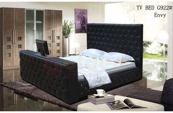 king size leather bed with automatic tv lift tv bed frame on sale g922 buy automatic tv lift. Black Bedroom Furniture Sets. Home Design Ideas