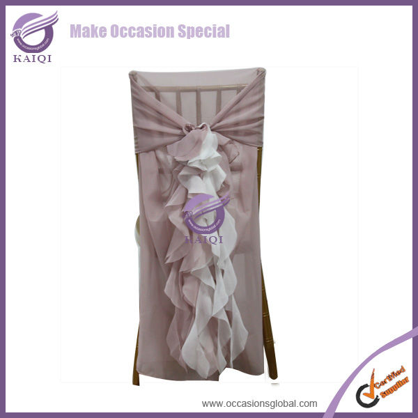 2015 hot sale elegant chiffon ruffled wedding chair cover wholesale from china