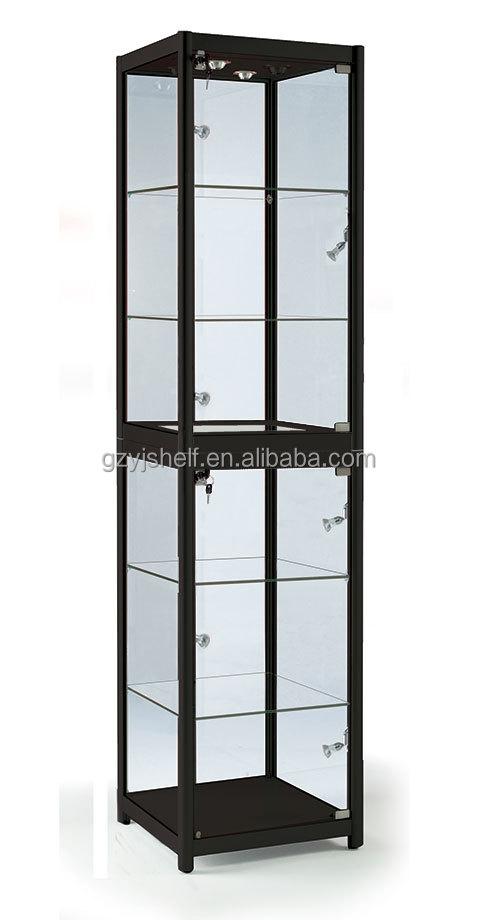 Titanium Corner Glass Display Cabinet,Wall Mount Glass Display ...