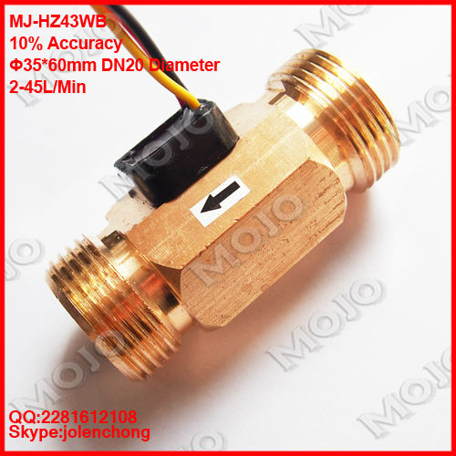 MJ-HZ43WB DN20 Connector diameter 25mm Brass material pulse water flow meter