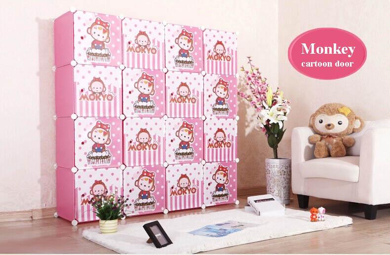 16 Cubes Cartoon Door Living Room Funiturer Kids Storage Shelves ...