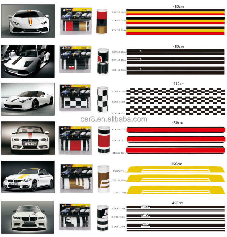Guangzhou wholesale car striping tape racing sticker and decals vinyl