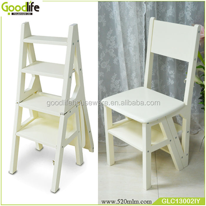 Wooden Goodlife Convertible Ladder Chair Library Step Stool Buy