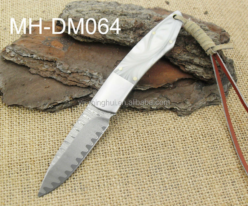 Damascus steel knife with resin handle
