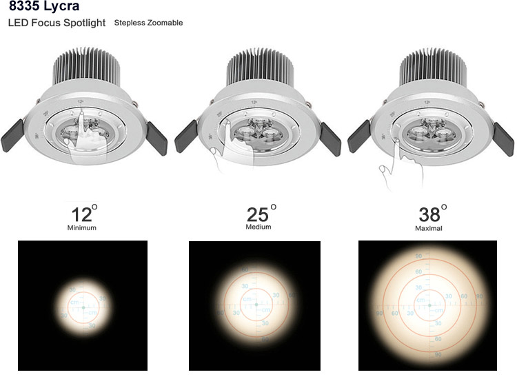7w Ce Focus Zoom Gimbal Focus Recessed Led Ceiling Light For