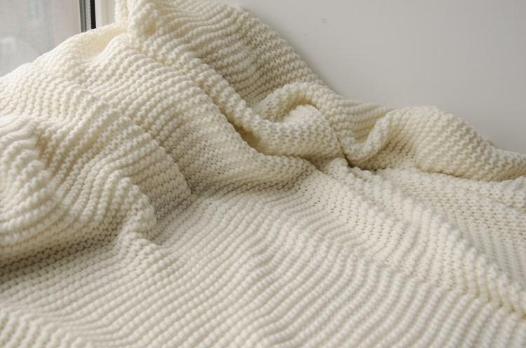 50da24-2 100%cotton Knit Blanket White Cotton Plaid Cotton Throw ...