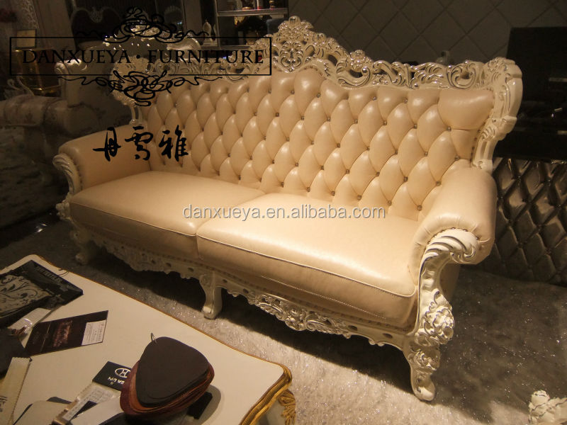 Danxueya Furniture Vitoria Style Solid Wood Hand Carved Leather Sofa M02#