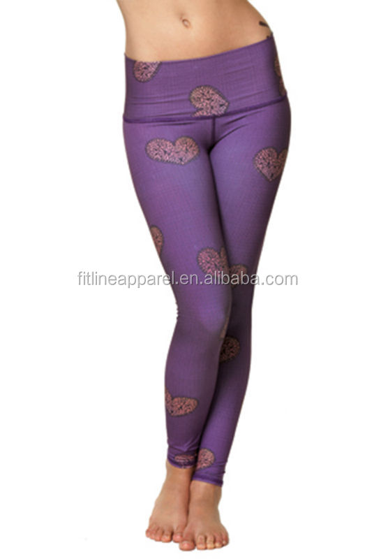 Purple Color Heart Pattern Printing Women Long Leggings Nylon Spandex Sexy Yoga Pants Buy Purple Color Hearts Design Womens Yoga Leggings Sexy Yoga Dance Pants Tight Woman Jogging Pants Yoga Pants Leggings Product On