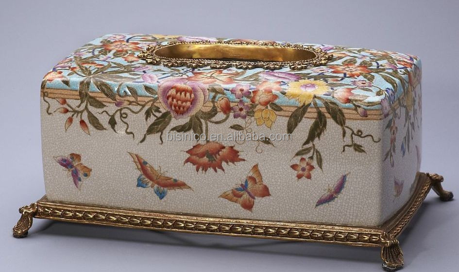 Decorative Tissue Box Cover Inspiration Floral Painted Porcelain Tissue Box With Cover Elegant Home Inspiration Design