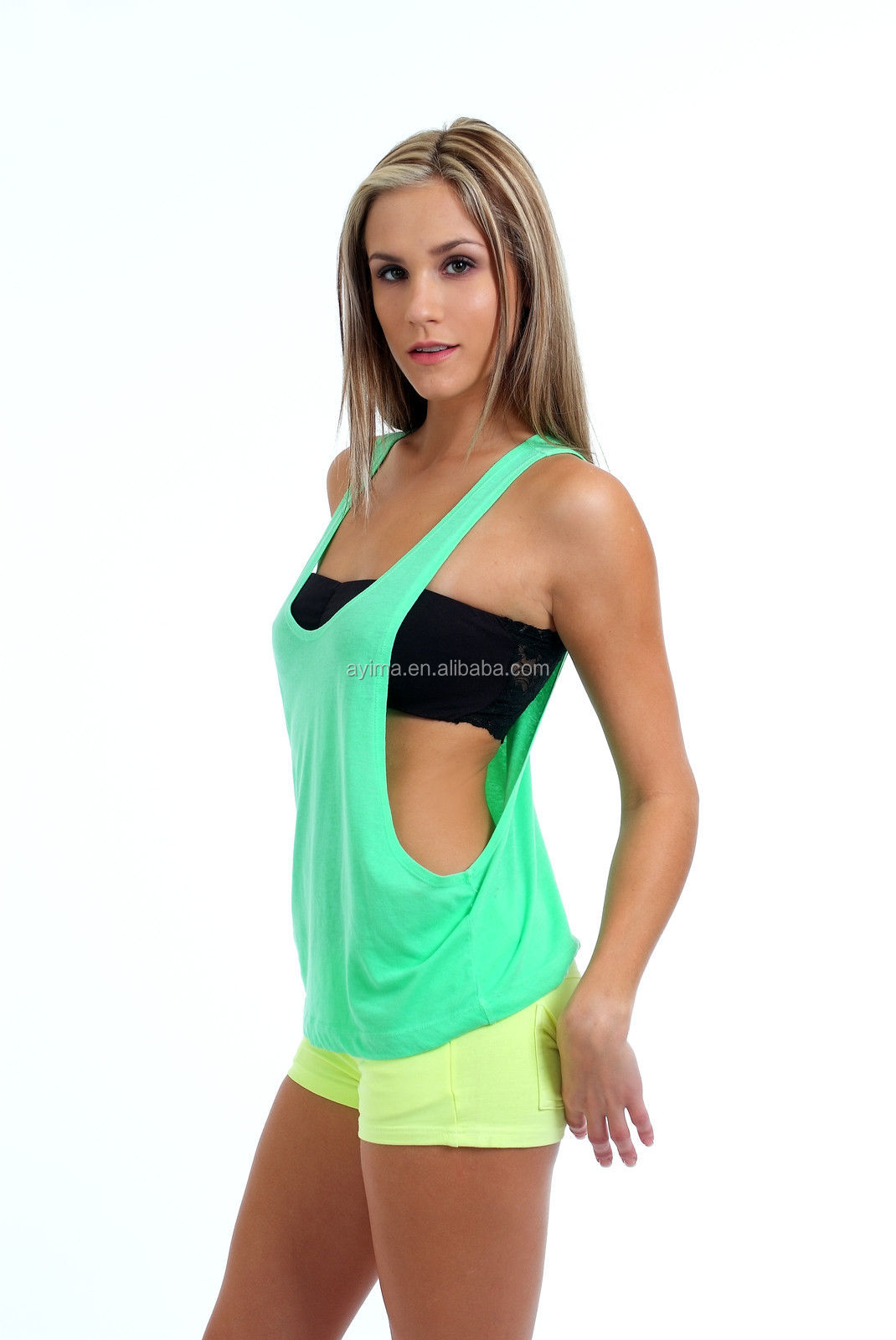 b73aed1229d696 hot selling womens juniors sexy drape tank top wholesale plain t shirts  with open side