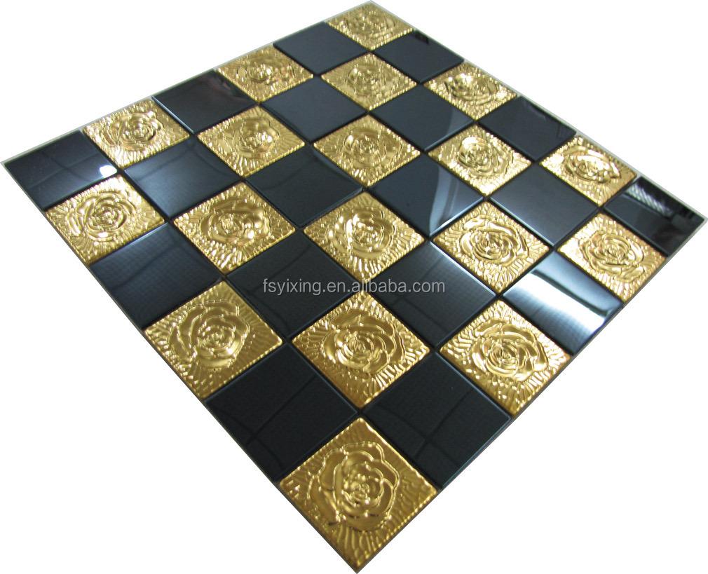 square 3d effect glass mosaic tiles mix black metal mosaic tiles