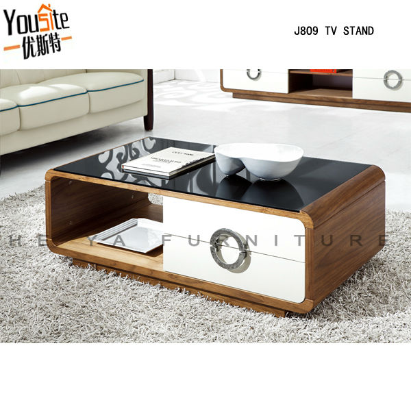 Modern wooden teapoy glass top high gloss center lcd for Teapoy table designs