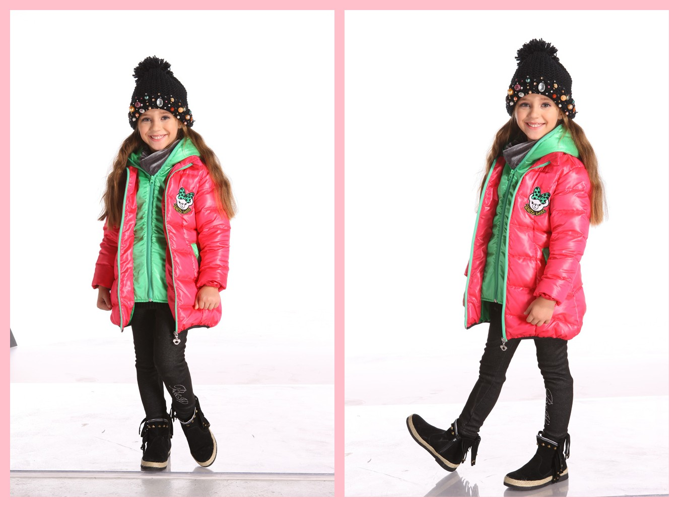 Bright Color Girl Goose Down Jacket For Winter Coat Kid Wear - Buy ...