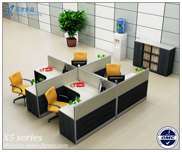 6 seats wooden office cubicles partitions with alumnium for Cubiculos de oficina