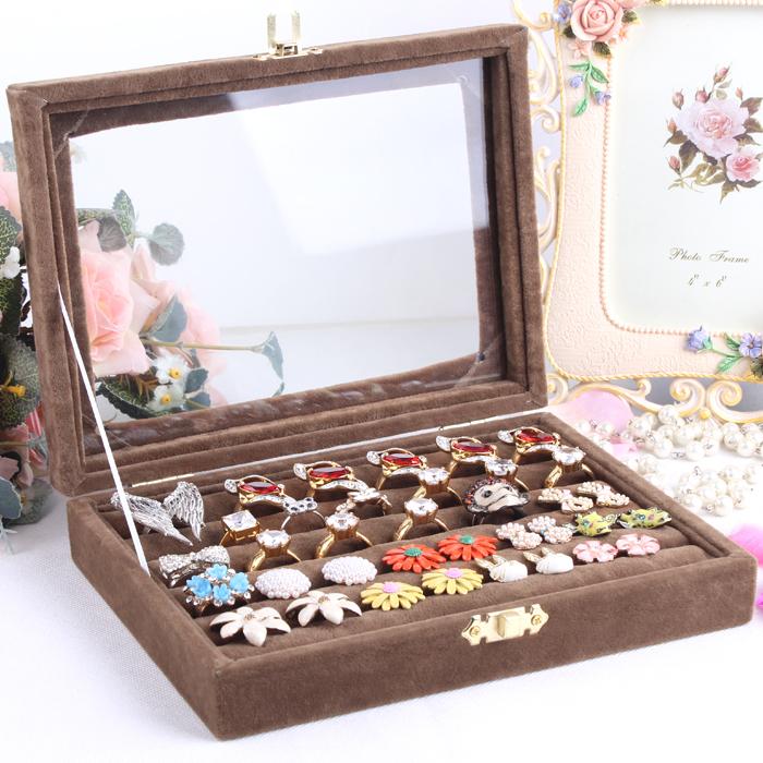 Small Ring Jewelry Box Gl Cover Storage Stud