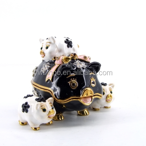 Hot sale lovely animal style crystal rhinestone metal jewelry box(M4302-2)