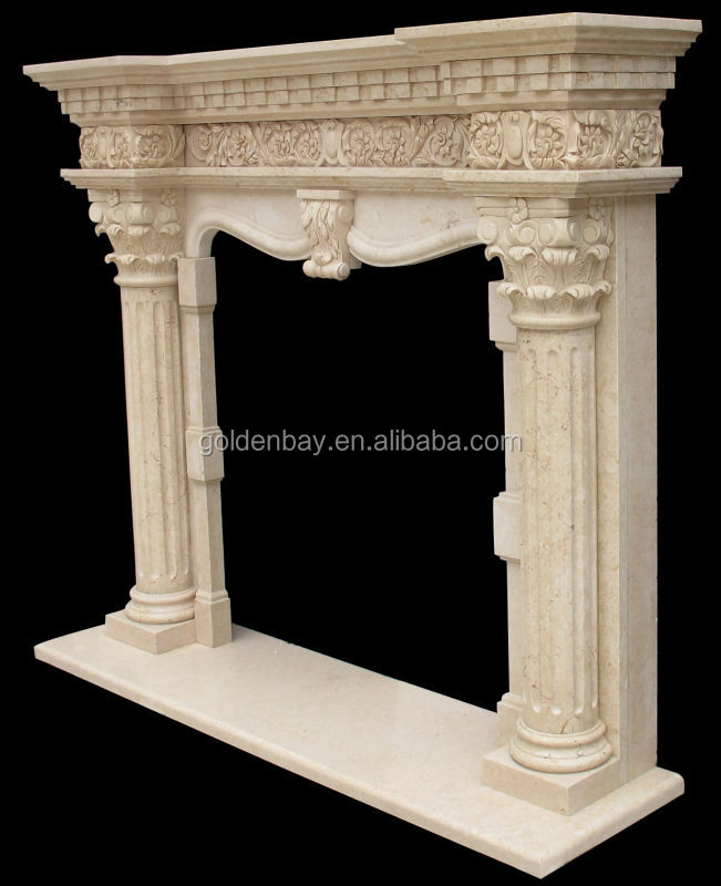 Carved Marble Column Fireplaces Stone Pillar Fireplace Mantel ...