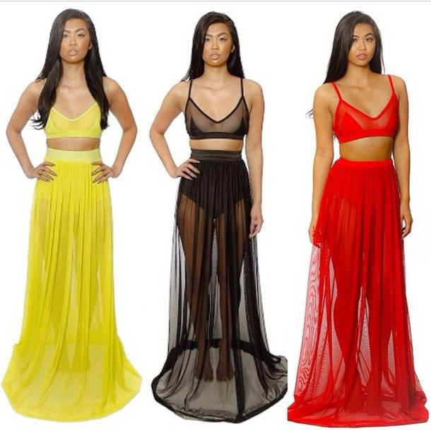 86d41196 women crop top and maxi long floor sheer skirt saias longa club party two  piece bodycon crop top and skirt set white black red yellow european  american ...