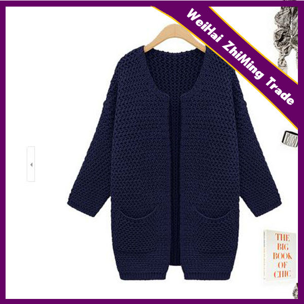 Yong Women Long Sleeve Navy Thick Needle Long Cardigan Sweater ...