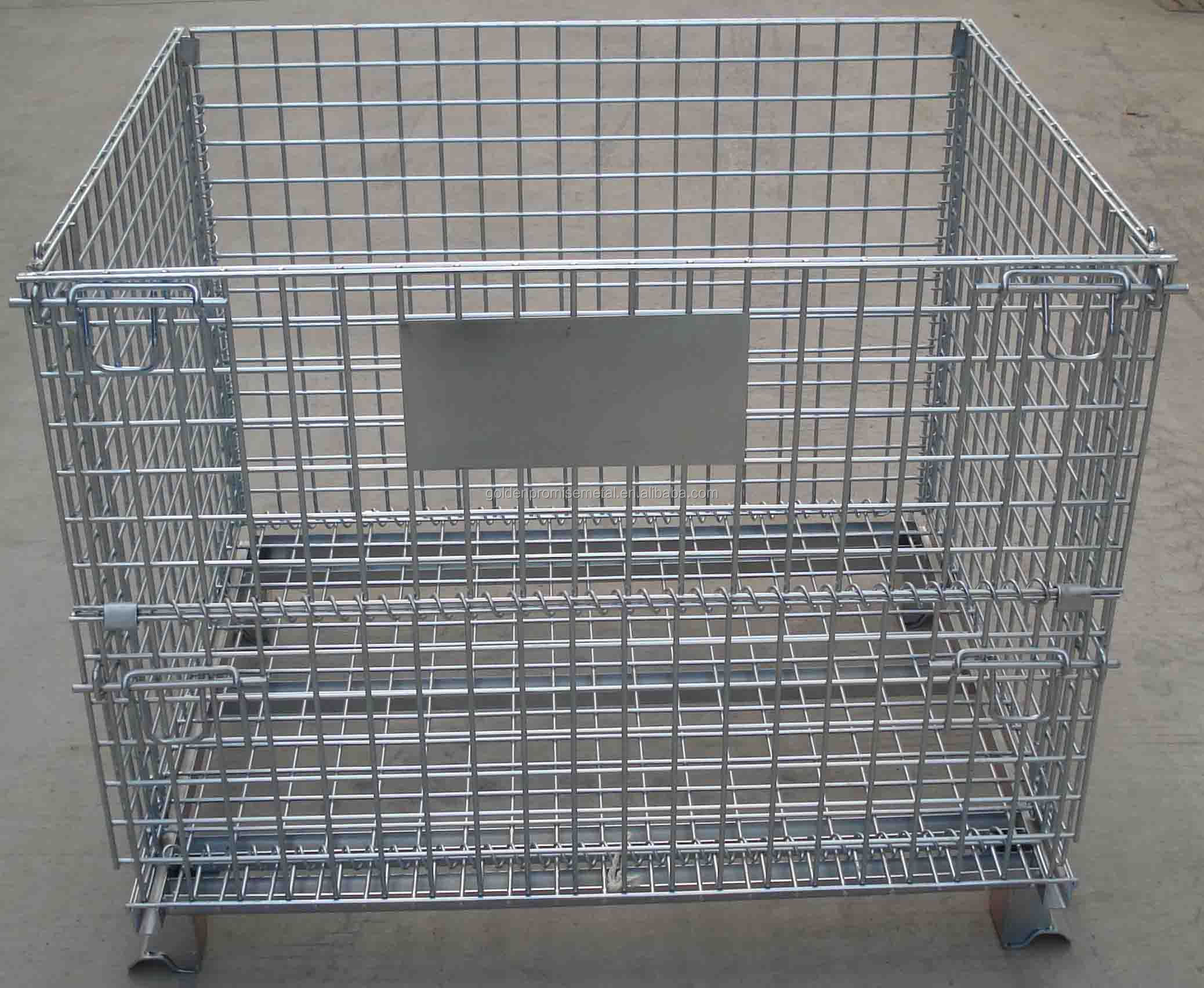 Large Capacity Steel Wire Cages Folding Wire Mesh Cage Wire Pallet ...