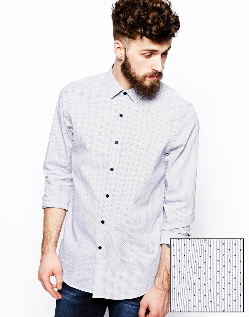 Smart Shirt In Long Sleeve With Spot Printcotton Fabric Mens Dress