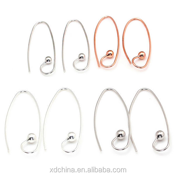 XD P068 925 sterling silver earring accessory 4mm curve ball ear hooks sterling silver earring findings