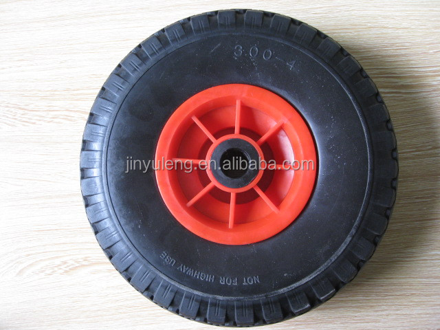 10 inche pu foam solid rubber wheel for Wheelbarrow wagon cart