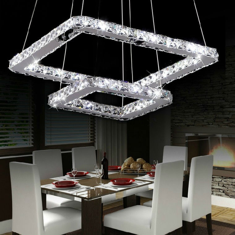Dining Room Modern Crystal Chandeliers: Square Modern Crystal Chandelier For Living Room Dining