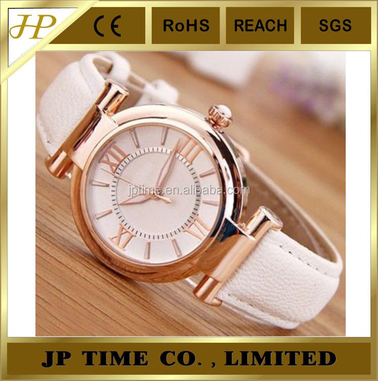 Classic White Leather Gold Color Noble Taste Wristwatch Quartz ...