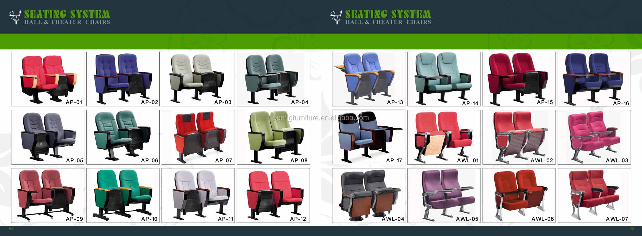 Big size writing pad wooden plastic folding recliner hall chair AW-17F
