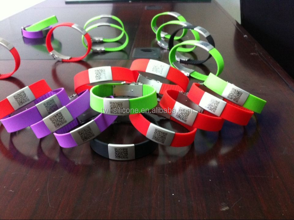 alibaba china with id metal clasp silicone chain bracelets